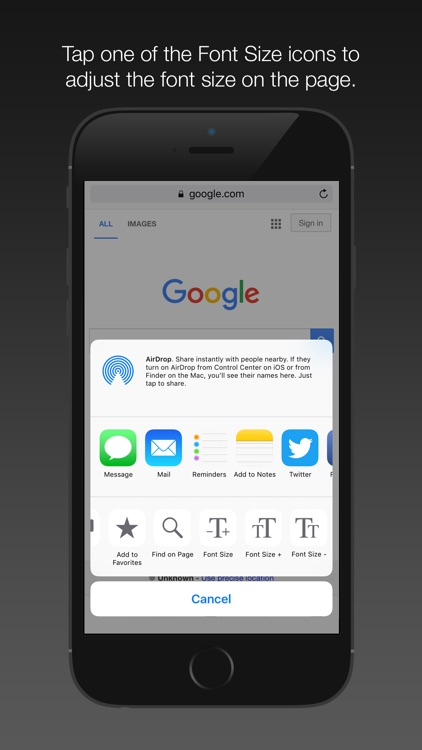 Font Size App Extension