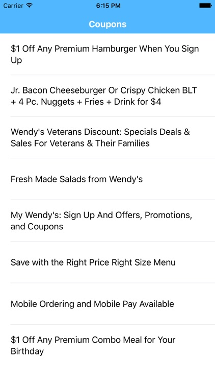 Coupons for Wendys App