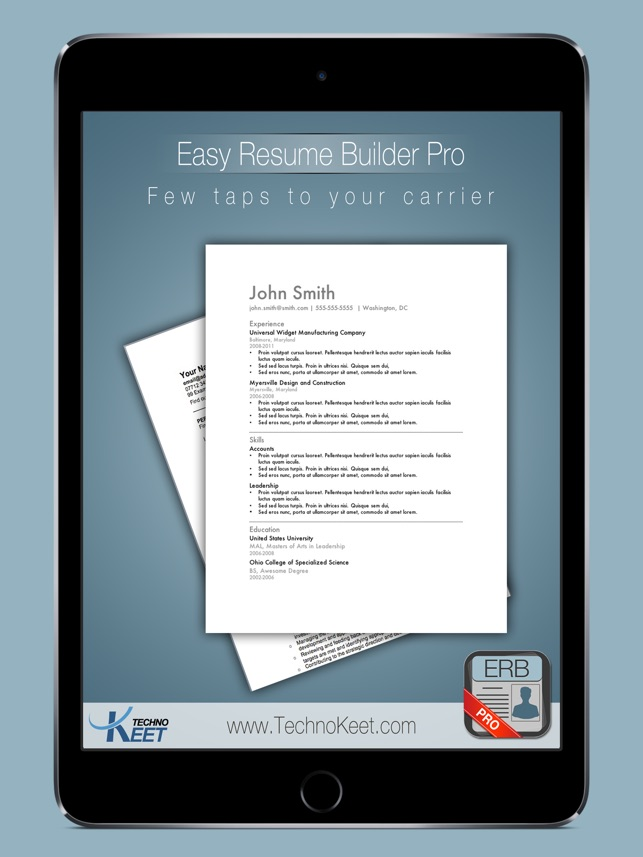 easy resume pro resume notepad for job search on the app store