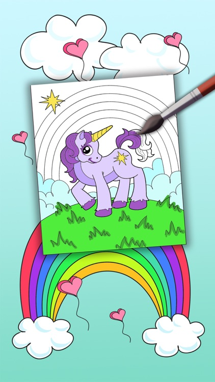 Unicorn coloring book for kids -paint & color fantastic animals - Premium