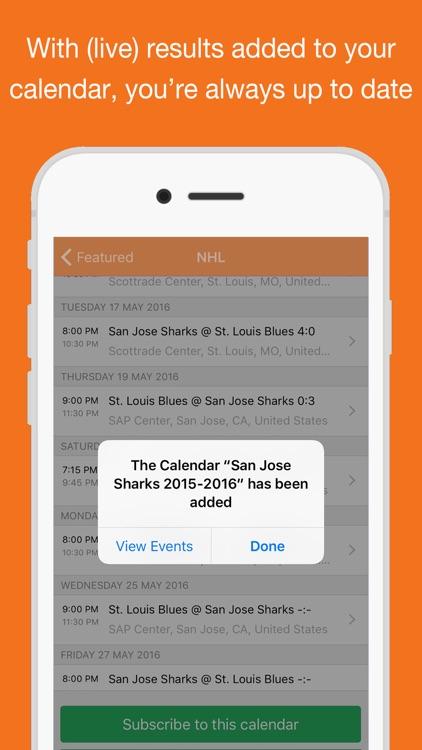 Hockey for iPhone Calendar
