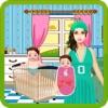 刚出生的双胞胎婴儿 & 妈妈护理-玩免费孩子游戏