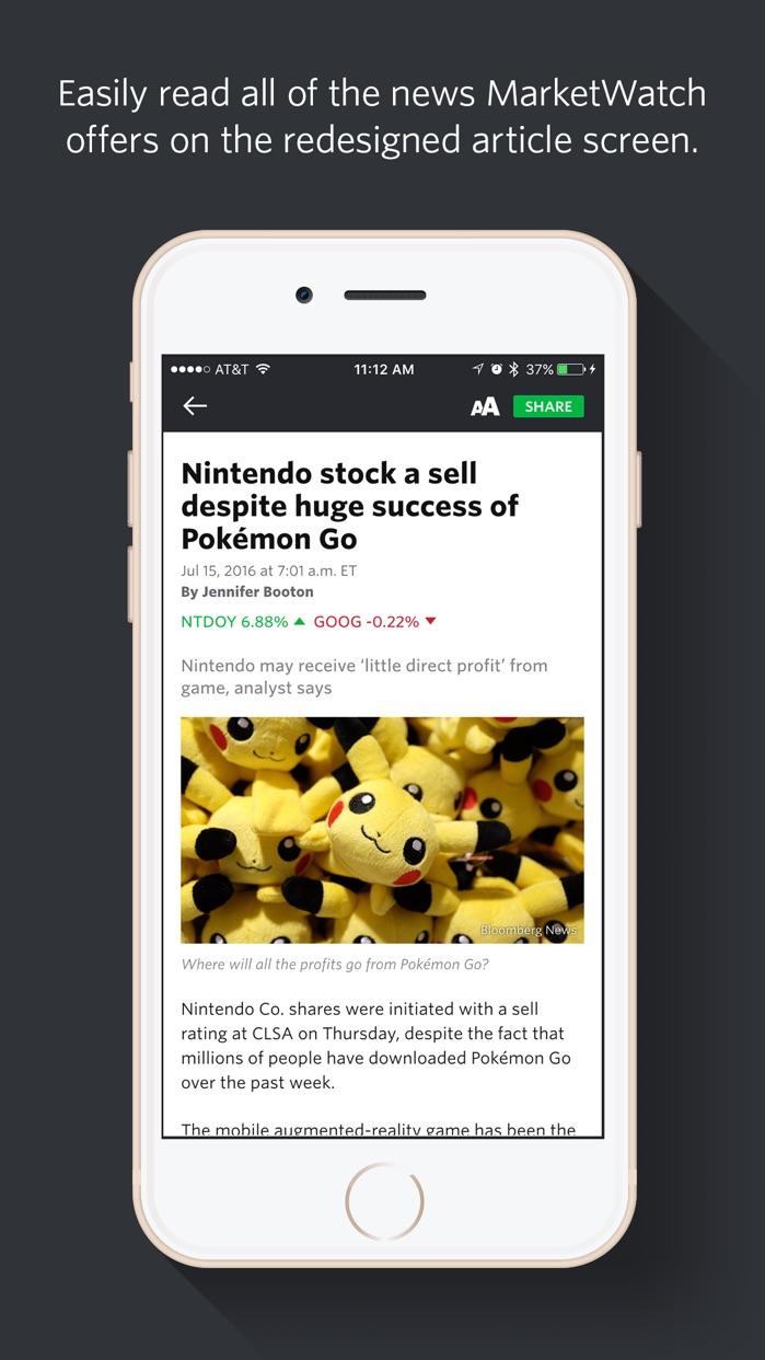 MarketWatch - Financial news + stock market data Screenshot