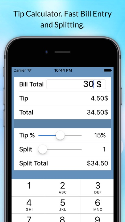 Tip Calculator - Split Bills & Fast Tips at the Restaurant Table for Food, Dining, Drinks and Dating