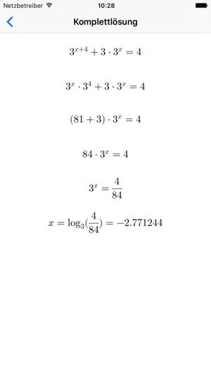 Exponentialgleichungen - Solver und Generator im App Store