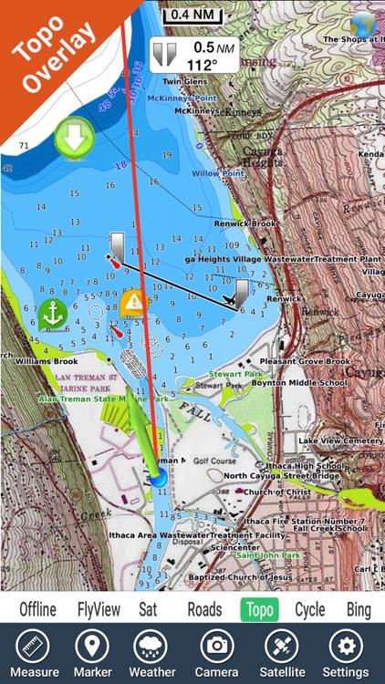 Cayuga - Seneca Lakes New York HD GPS fishing map