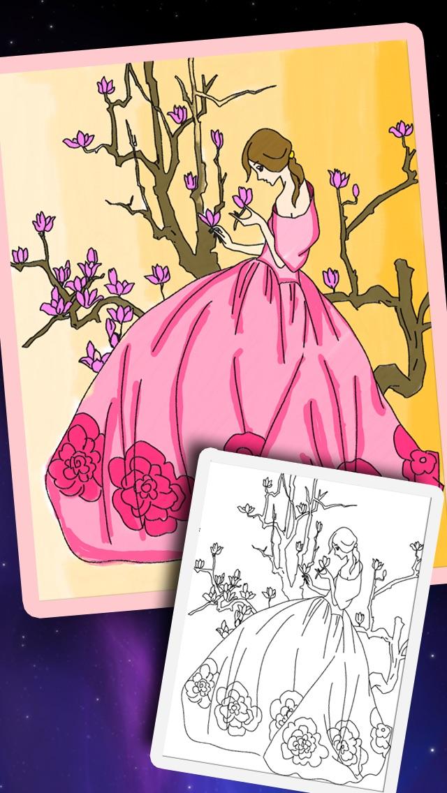 お姫様ぬりえ絵本 -デコぬりえ - お絵描きパッドとぬりえの2in1スクリーンショット3