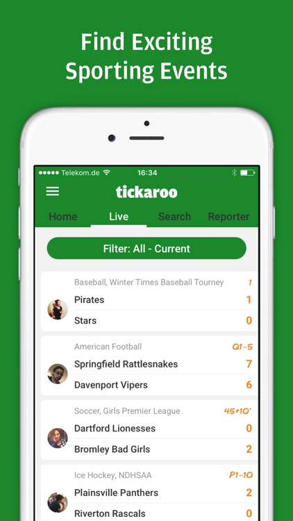 Tickaroo LIVE Sportscasting for various Sports