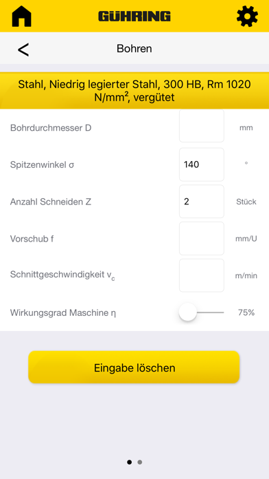 Gühring Schnittkraftrechner screenshot three