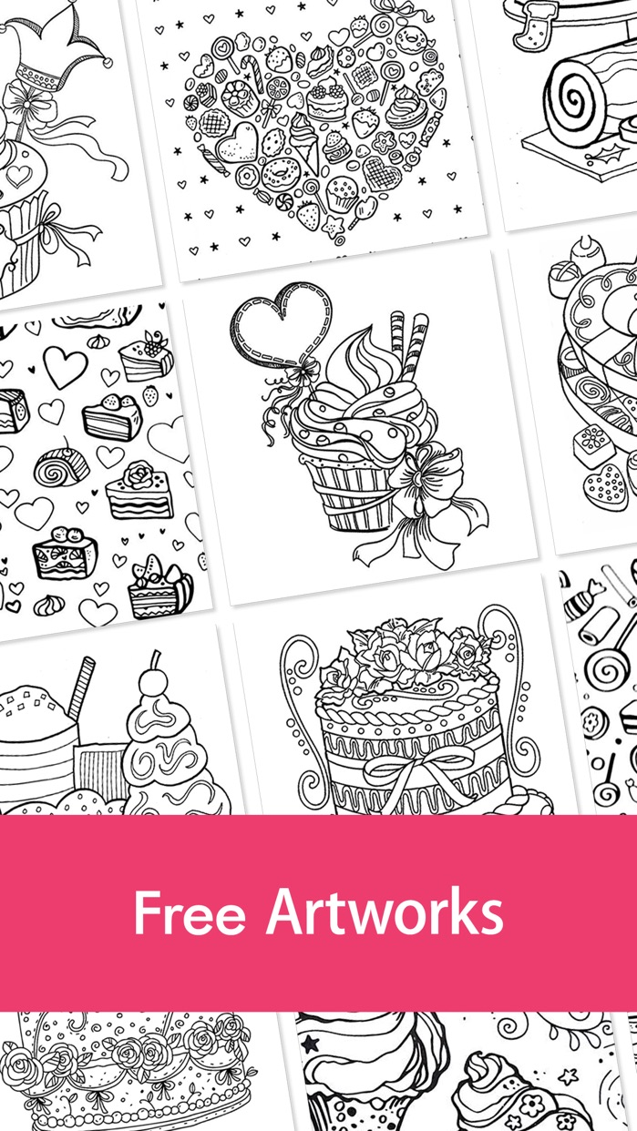Free Fun Adult Coloring Book - FOOD: Coloring Book for Adults & Stress Relieving Color Therapy Screenshot