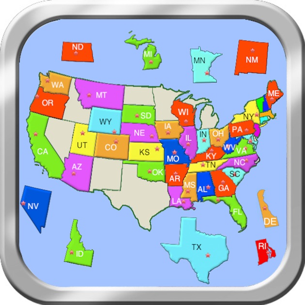 a puzzle map of usa on the app store. Black Bedroom Furniture Sets. Home Design Ideas