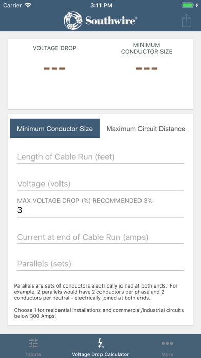 Southwire voltage drop calc by southwire company ios united southwire voltage drop calc by southwire company ios united states searchman app data information greentooth Images