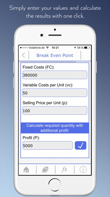 Cost Accounting To Go - Calculator app for students with dictionary and formulas.