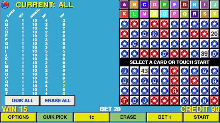 Keno 20 Multi Card - Las Vegas Casino