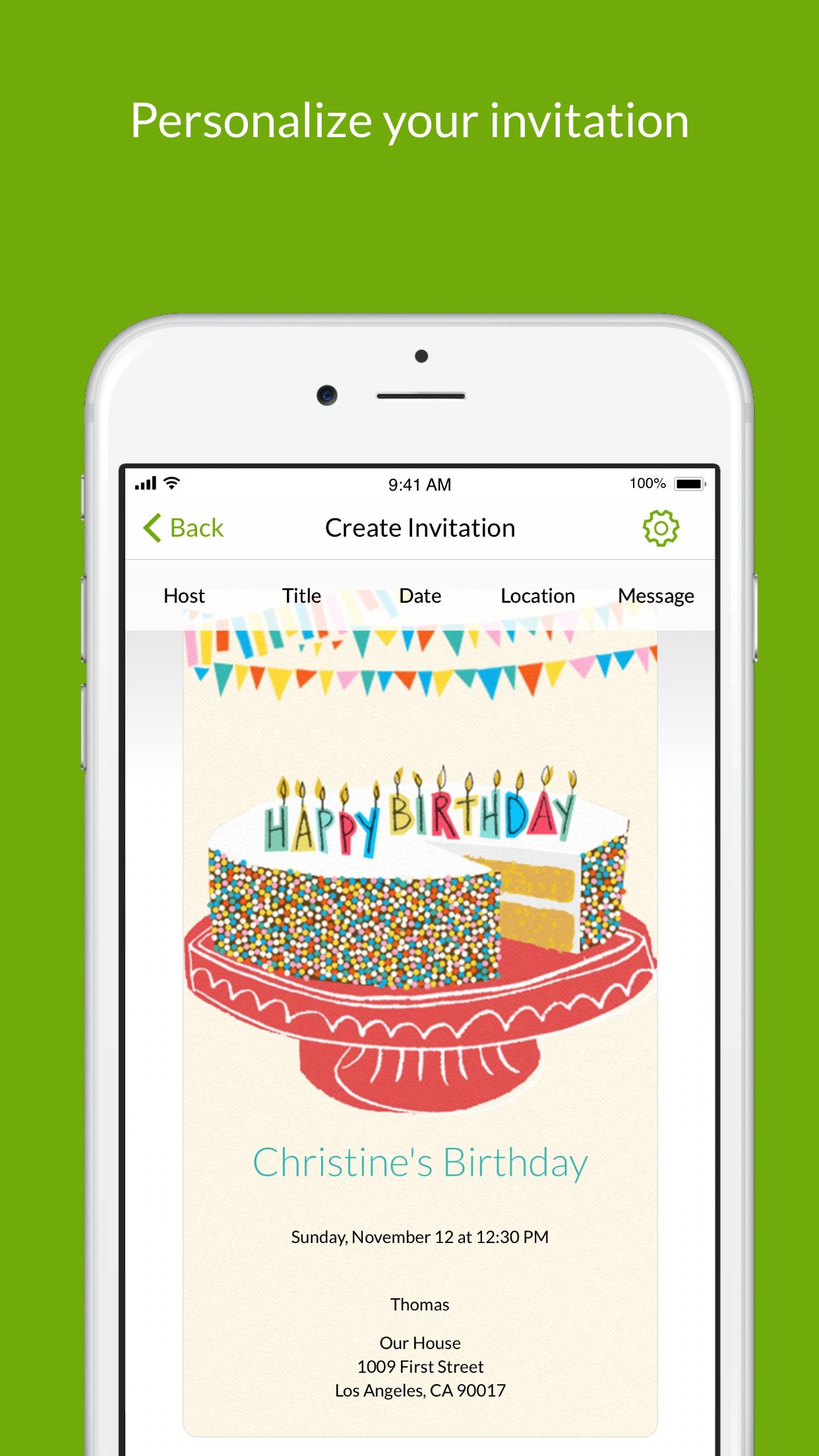 Evite: Online Invitations Screenshot