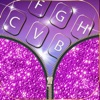 Glitter Keyboard for Girls – Colorful Background Theme.s with Pink Glowing Key.s and Cute EmojiS