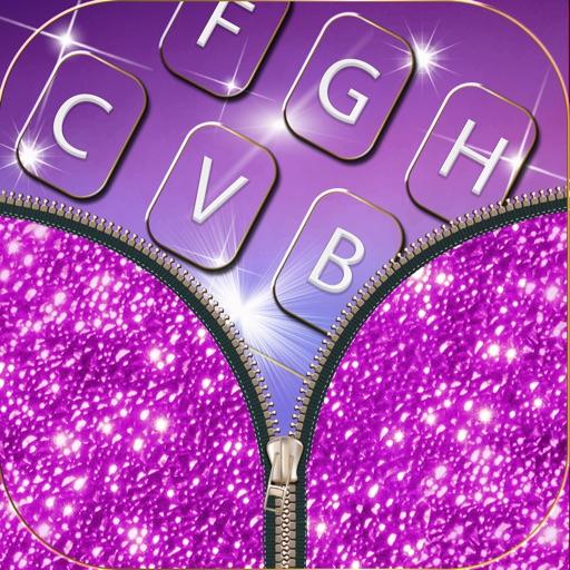 Клавиатура блестки для девочек - Красочные темы фон с розовые светящиеся клавиши и смайлики милый