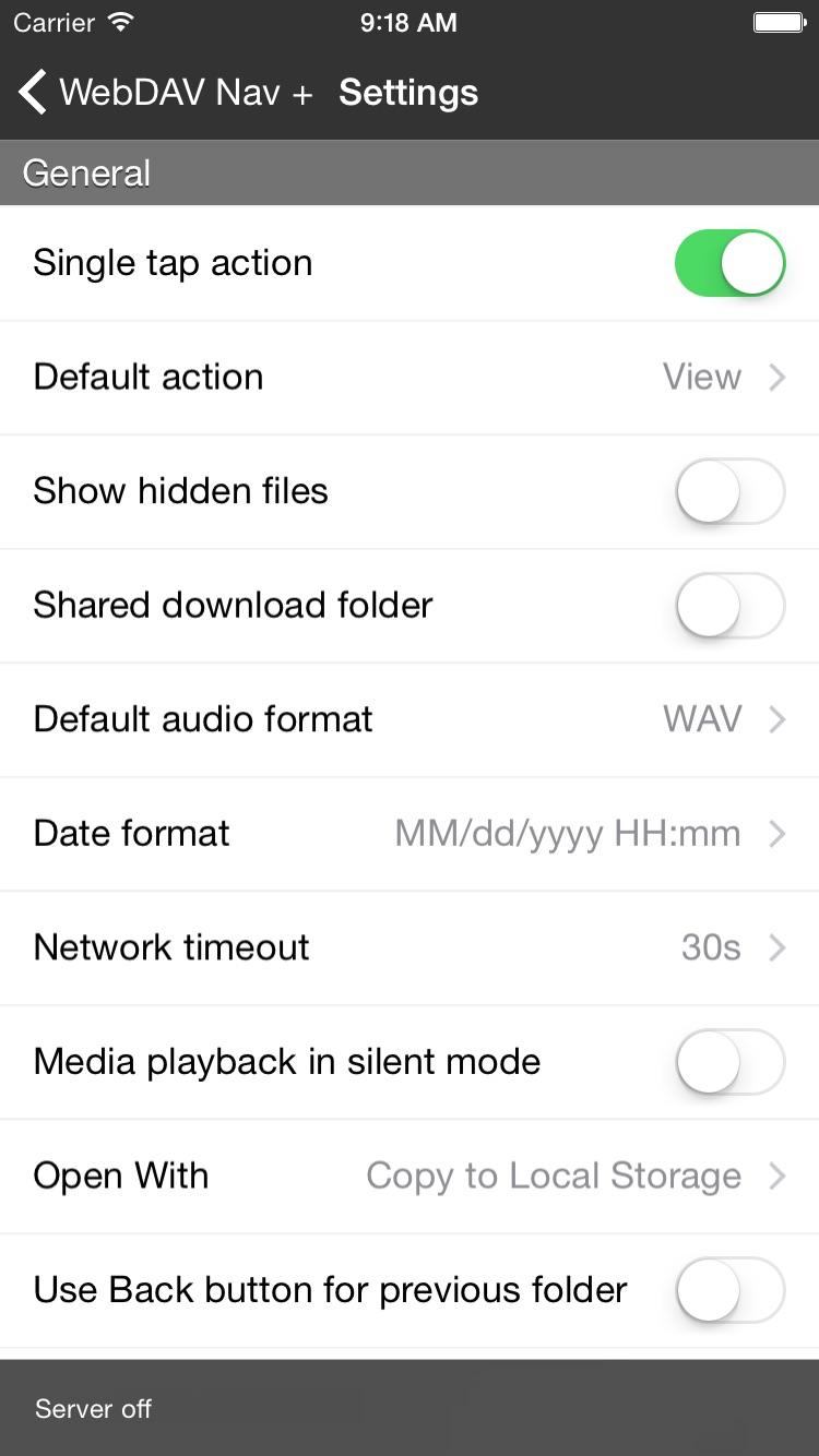 WebDAV Nav+ Screenshot