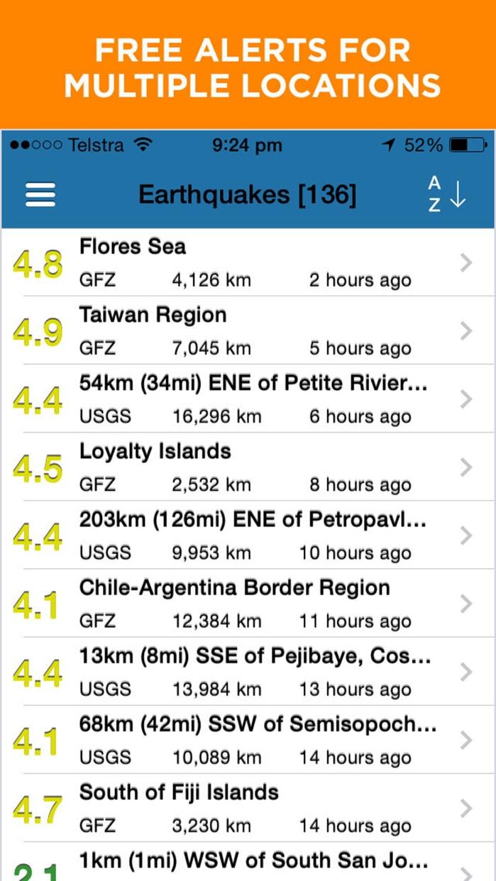 Earthquake + Alert, Map & Info Screenshot
