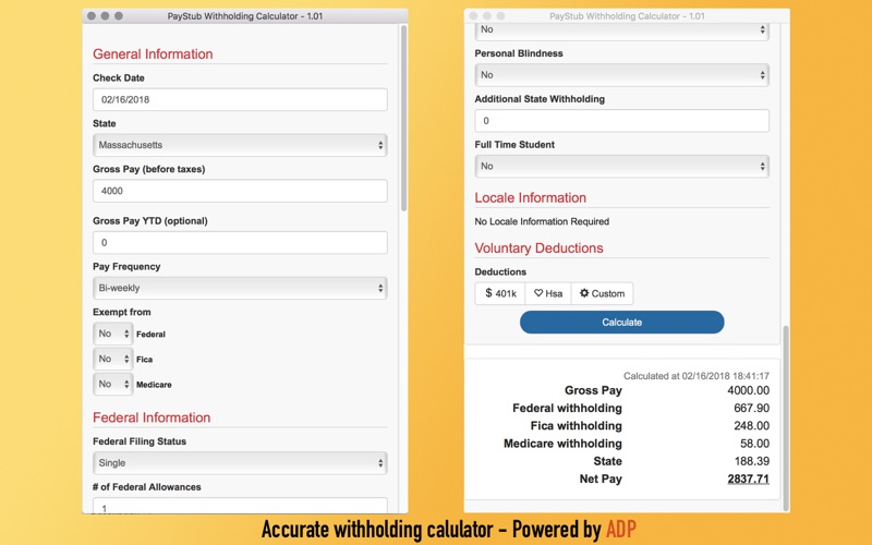 screenshot 1 for paystub withholding calculator