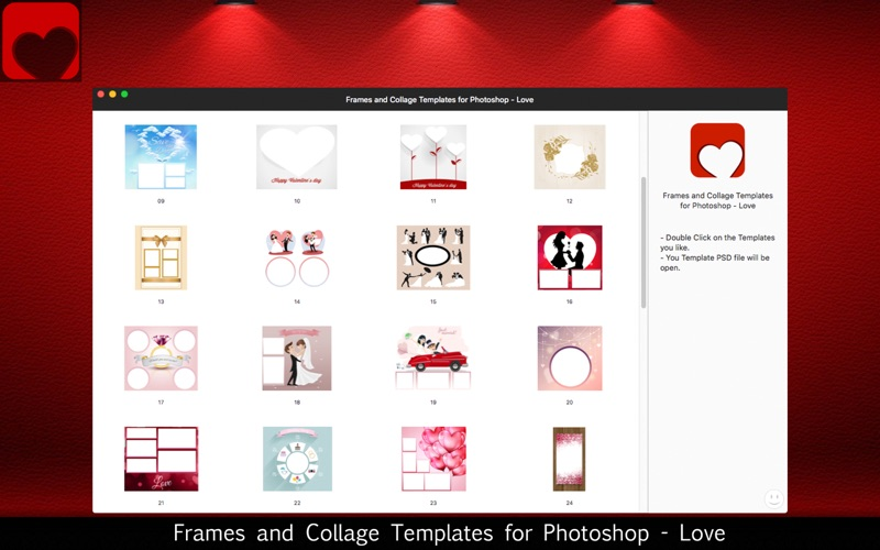 Frames and Collage Templates for Photoshop - Love screenshot 5