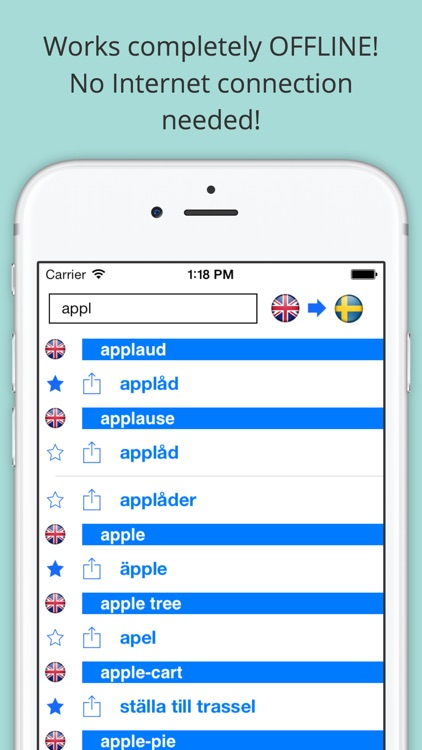 Offline English Swedish Dictionary with Voice