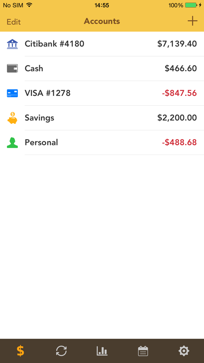 Checkbook - Account Tracker Screenshot