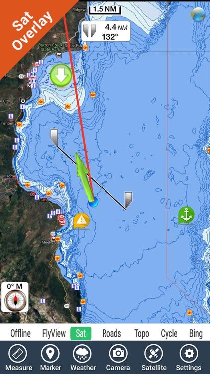 Lake Tahoe California GPS fishing chart offline