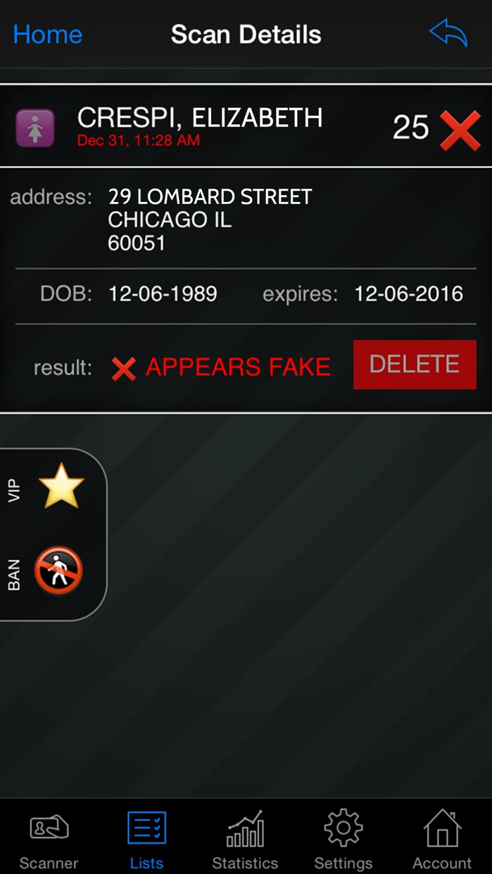 Bar & Club Stats ID Scanner Screenshot