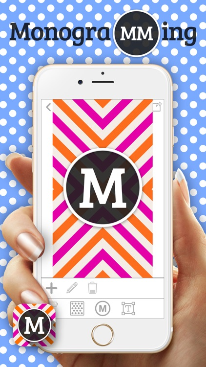 MonograMMing – Custom Wallpaper Maker with Monogram Sticker.s and Chevron Glitter Theme.s