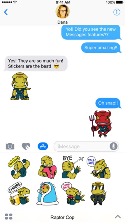 Raptor Cop stickers by Beardownize for iMessage