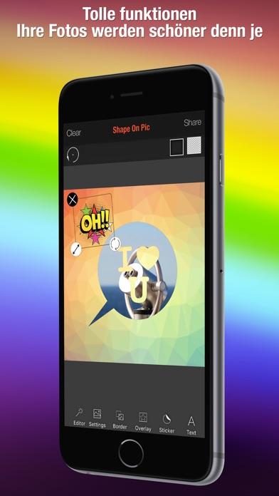 Shape Over Pic Fortgeschrittener text und bildbearbeitung - Hinzufügen auflage silhouette, symbole und bilderrahmen über bildScreenshot von 3