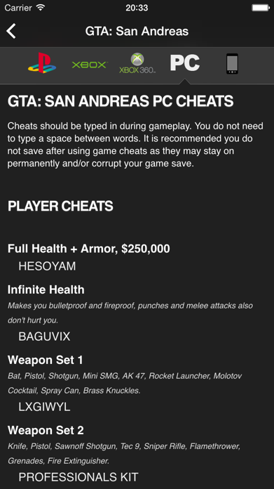 Cheats for GTA - for all Grand Theft Auto games Screenshot