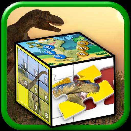 孩子们恐龙拼图和数字游戏-教年幼的孩子字母表、 计数和拼图形状