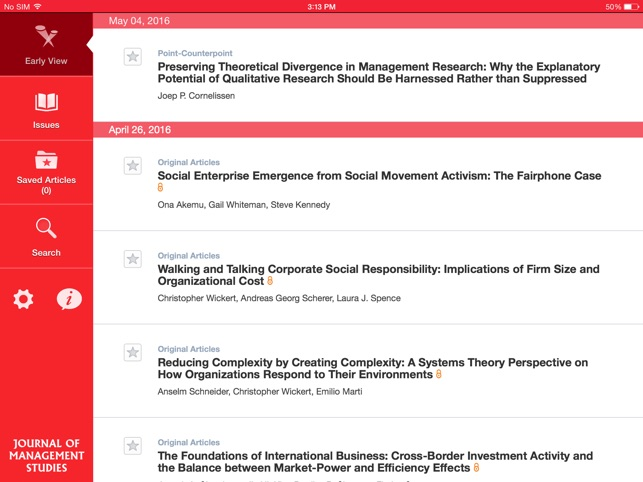 Journal of Management Studies on the App Store