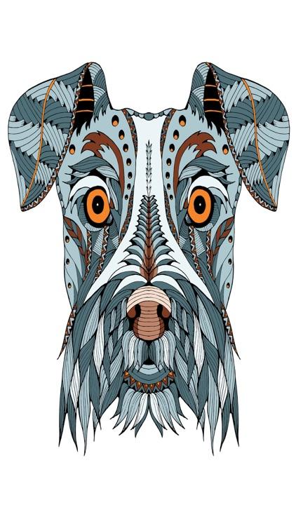 Mandalas dog - Coloring pages for adults screenshot-3