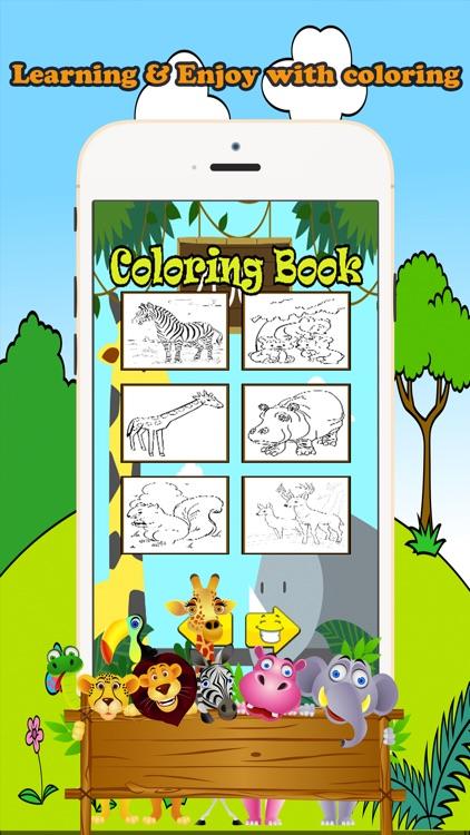 Zoo Animals Coloring Book Educational Toddler Game screenshot-3
