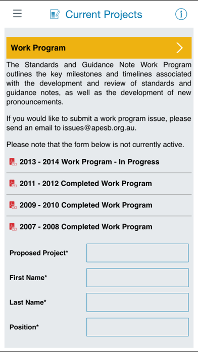APESB Professional Standards Screenshot on iOS