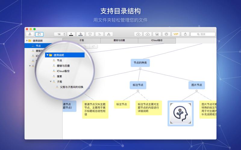 脑图笔记 - 高效工作学习的逻辑思维导图构建流程图工具 for Mac