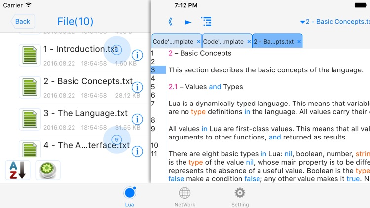 luai5.2.1 - run code, autocomplete, outline, color code