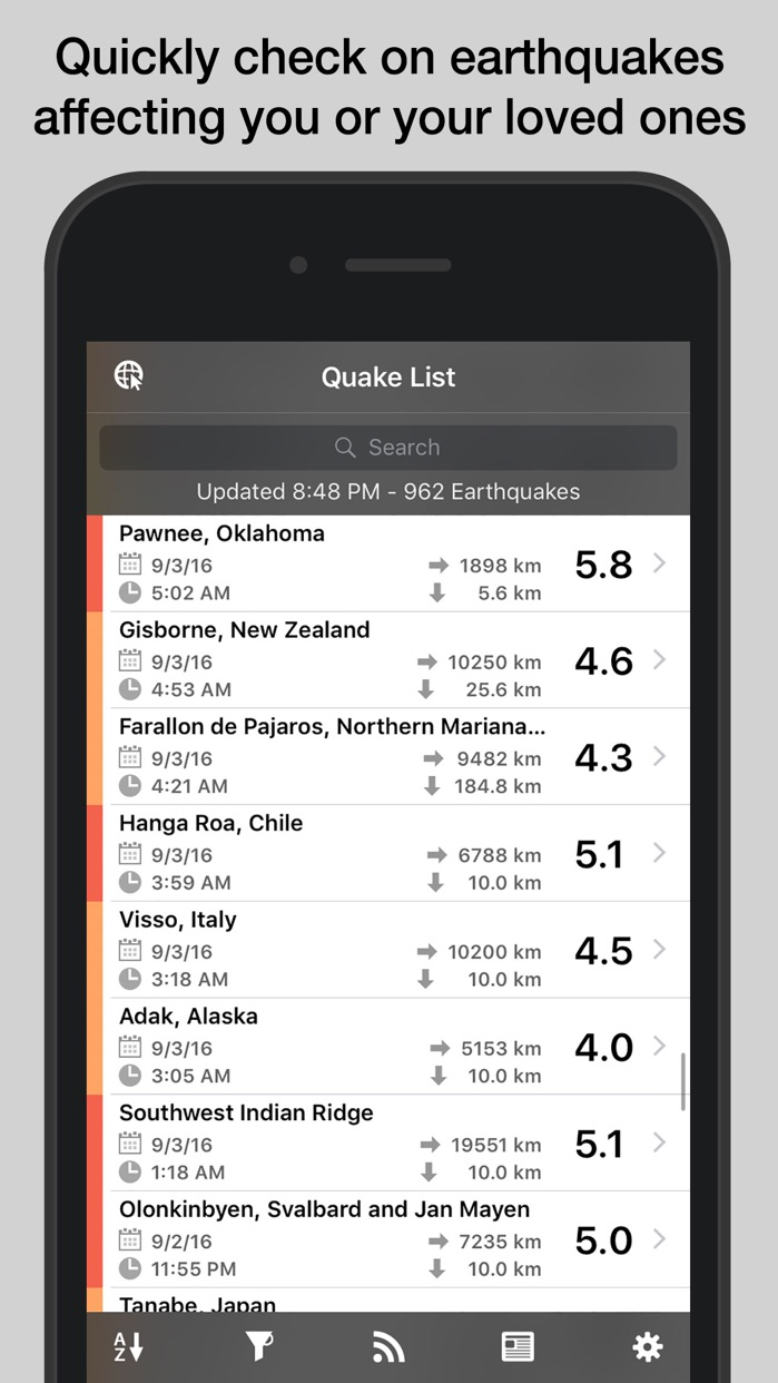 QuakeFeed Earthquake Alerts Screenshot