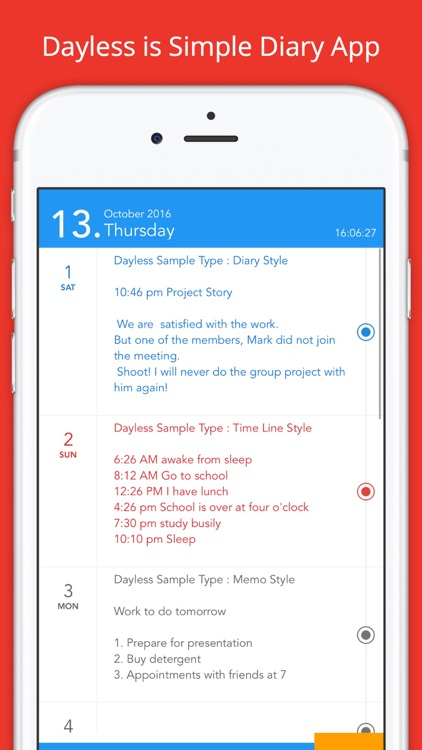 Dayless - Simple Diary App