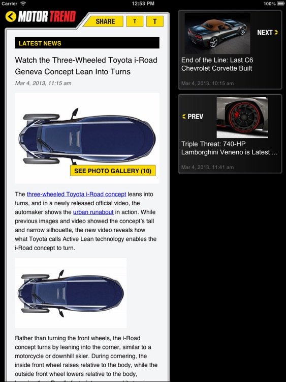 MOTOR TREND News for iPad