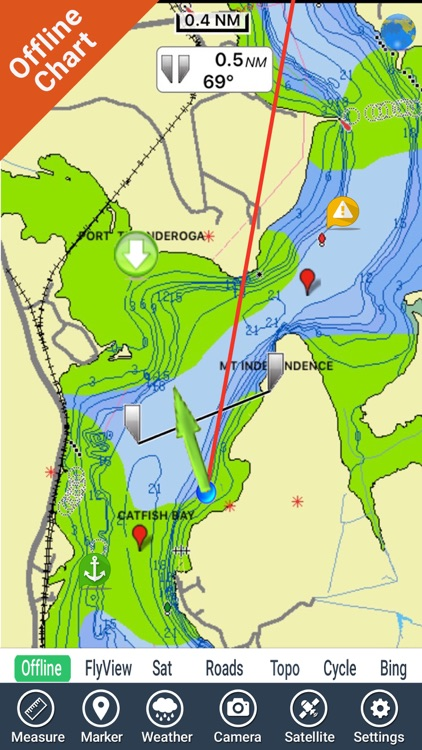 Champlain Lake Vermont HD GPS fishing chart
