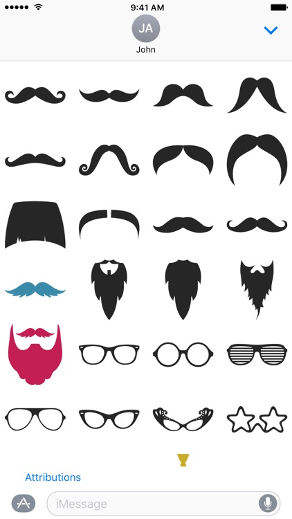 Hipster Mustache, Beard and Glasses Stickers