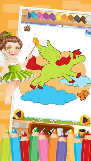 Kleine Unicorn Farbbuch Zeichnung zu malen Färbung Spiel für Kinder ...