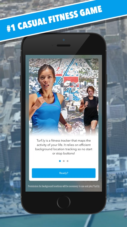 Turf.ly - the casual fitness game! Epic pedestrian turf wars with GPS watch app and automatic pedometer.