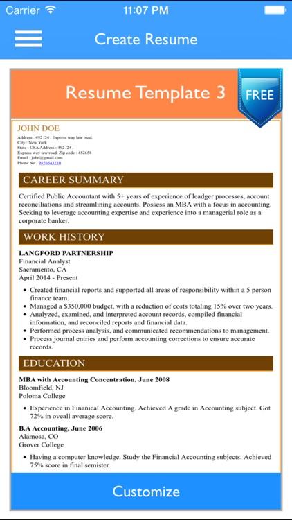 Free Resume Builder App - Professional CV Maker and Resumes Designer screenshot-4