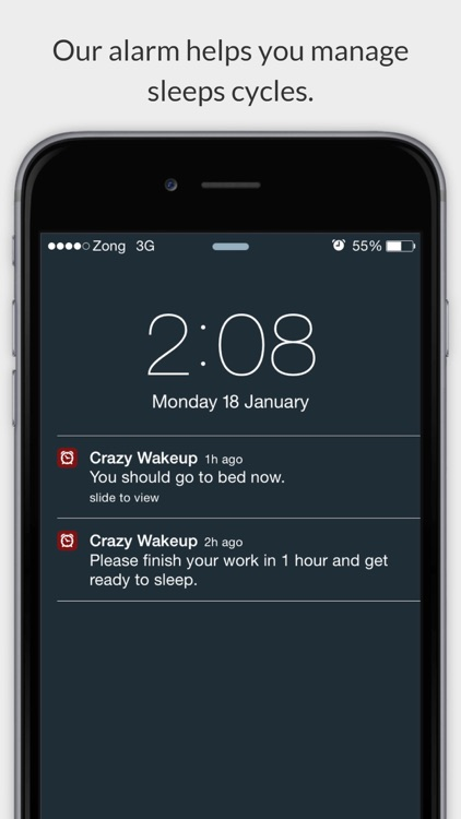 Crazy WakeUp Alarm app for heavy sleepers with spin, maths, shake and questions to wake up