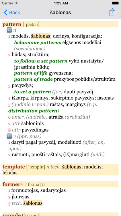 Anglonas - the English-Lithuanian dictionary screenshot-1